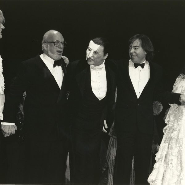 Opening night curtain call, Jan. 26, 1988, features Steve Barton  (Raoul), Harold Prince, Michael Crawford (The Phantom), Andrew Lloyd Webber and Sarah Brightman (Christine