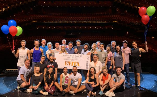 The cast of Evita celebrating Evita Breaks Record Becoming Highest Selling Show Ever at Arts Centre Melbourne
